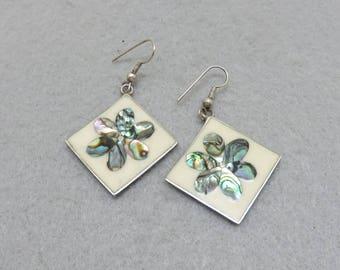 White Enamel and Abalone Shell  Flower Alpaca Pierced Earrings