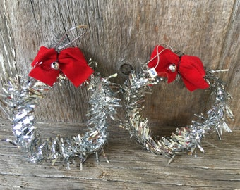 Set of Two Miniature Tinsel Wreath Ornaments, Japan