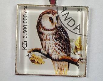 Barn Owl Hawk Owl Birds Wild Birds Raptor Rwanda Africa Genuine Postage Stamp Pendant Key Ring