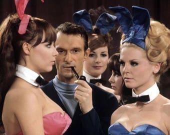 Hugh Hefner and Some Playboy Bunnies in the 1960's