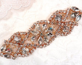 "Crystal Rhinestone Rose Gold Applique 3.75"" (GB618)"