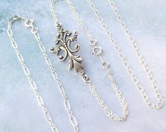 SALE Silver Bracelet Set, Fleur De Lis Bracelet, victorian, stacking bracelets, sterling silver, bridal, 3, weddings, chain