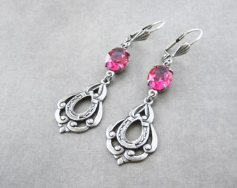 Hot Pink Earrings - Fuchsia Rose - Silver Plated Horseshoe - Equestrian Weddding
