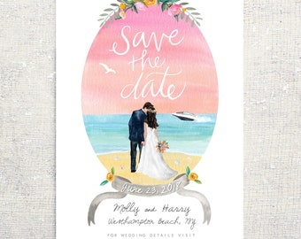 Save the Date: Custom Illustration Personalized Beach or any theme