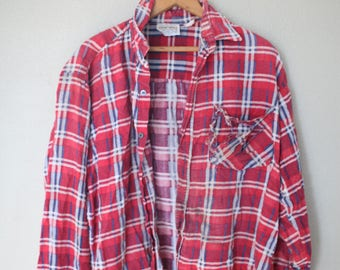 vintage distressed red plaid lumberjack grunge flannel button up shirt