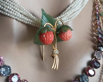 14k Gold Diamond Jade Coral Strawberry Brooch One Of A Kind