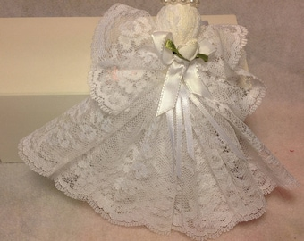 Christmas Angel Frilly lacy very feminen a hanging ornament