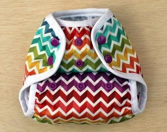 Nelpe Diaper Cover, Rainbow Chevron, Size Two