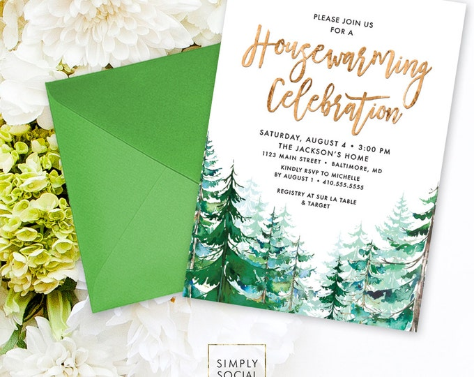 Housewarming Party Invitation - Watercolor Conifer Pine Tree Party New Home Invitation Evergreen Rustic Pine TreePrintable