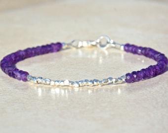 February Birthstone Bracelet, Amethyst Bracelet, Hill Tribe Silver, Vegan, Gemstone Bracelet, Purple, Layering Bracelet, Woman's Gift