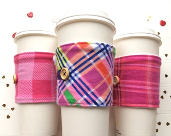 Coffee Cup Cozy, Mug Cozy, Coffee Cup Sleeve, Cup Cozy, Cup Sleeve, Reusable Coffee Sleeve - Valentine Cozy Flannel Plaid [73-75]