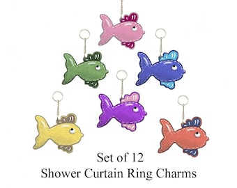 Decorative Shower Curtain Ring Charms..School of Fishies...Set of 12.