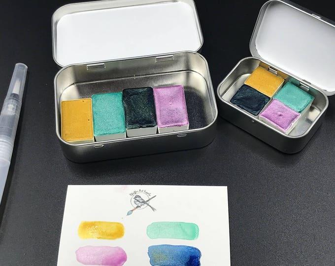 Handmade Watercolor SPARKLY handmade paint palette mini tin Peacock Kit