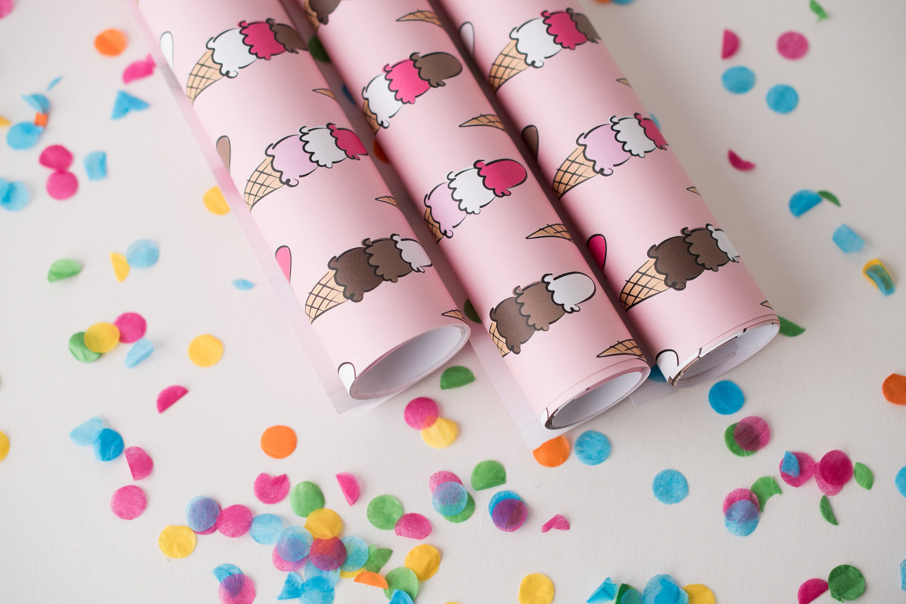 Summer Gift Wrap, Wrapping Sheets, Happy Birthday, Pink Holiday, Ice ...