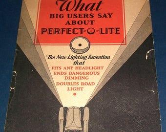 Large 1931 Perfect-O-Lite auto headlight-enhancer sales booklet
