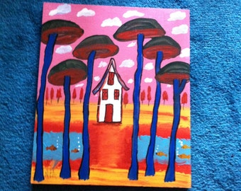 Fantasy House original primitive art painting -marked 1/2 off
