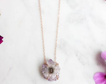 Amethyst Stalactite Necklace in Rose Gold