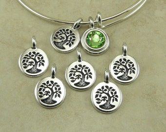 5 TierraCast Tree Charms > Tree of Life Bodhi Family Mother Earth Nature - Silver Plated Lead Free pewter - I ship Internationally 2454