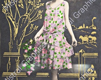 Art Deco 1920s Flapper Girl Photo - Digital Image - Instant Download - Art Deco Hand Coloured Photograph
