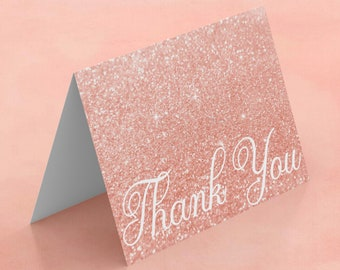 Rose Gold Sparkly Glitter Thank You Card Note Folded Assorted Sizes and Cardstock Options