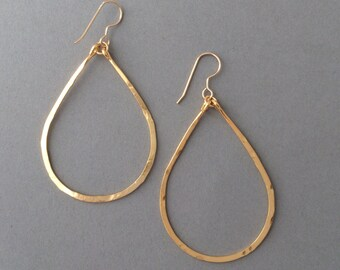 Small Gold Hammered Teardrop Hoop Earrings