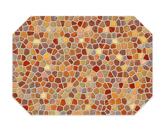 Fall placemat, printed cloth placemat, yellow, orange and gray mosaic design, fabric placemat, table linens, table setting, home decor