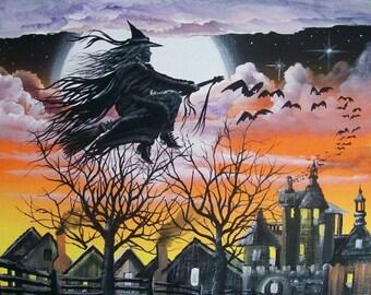 "Folk Art HALLOWEEN Witch Flying PRINT ""Country Flight"" Byrum"