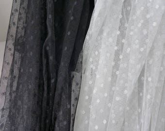 Small Polka Dot Illusion Tulle Lace Fabric in Black / Ivory for Bridal Veil, Tutu Dress, Wedding Decorations