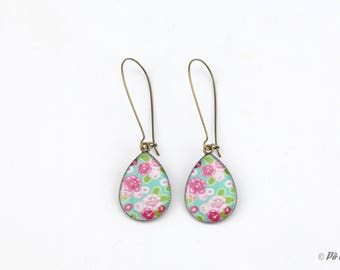 Pink and green floral #1000 earrings