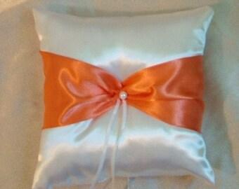 ring bearer pllow wedding custom made orange on white