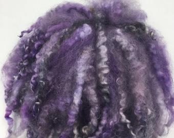 Hand Dyed Purple & Black Leicestershire Longwool Locks, 50g