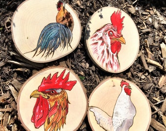 Rooster coaster set of 4 - handpainted and woodburned on maple tree rounds