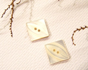 """Pair, Antique Shell Buttons, Small DIAMOND Shape, 3/4"""", ANIMAL CHARITY Donation"""
