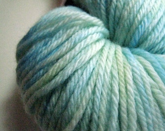 Glacier  - light blue white worsted superwash merino yarn