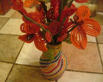 Vintage Hand Beaded Flowers in Beaded Vase. Mod! Bright Colors
