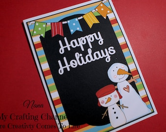 Chalkboard 2 Snowmen Happy Holidays Layered Card-Snowman Card-Christmas  Card-Christmas-Greeting Card-Handmade Card