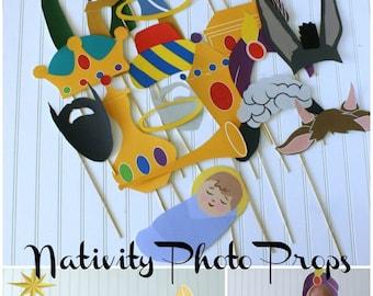 Christmas / Nativity / Three Kings Day Photo Booth Props DIY Printable download pdf  & print (24 piece set)