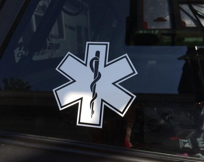 EMT logo vinyl decal, Emergency Medical Technician decal, EMT First Responder logo sticker, Rescue personnel decal, EMT car truck sticker