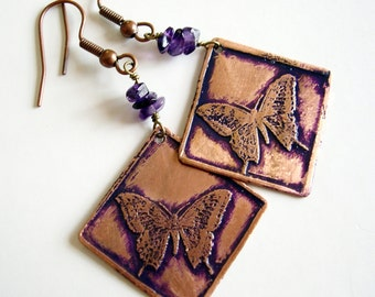 Etched Copper Earrings Butterflies with Amethyst Chips - Free Domestic Shipping