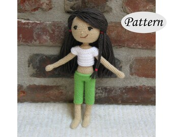 SUMMER GIRL - Amigurumi Pattern Crochet Doll Pattern - Photo Tutorial - PDF - Plush Doll Girl