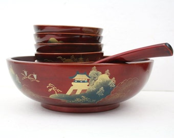 Japanese Lacquerware 9 piece Salad Bowl Set Made in Japan / Wabi Sabi
