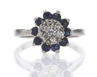 Flower sapphire ring, sapphire gold ring, vintage style ring, antique ring, vintage engagement ring, antique diamond ring, art deco ring