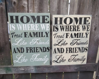 Hand Painted Rustic Wood Home is Where you treat Family like Friends and Friends like Family Sign  Custom Colors