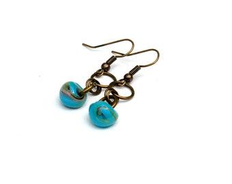 Lampworked Glass Teardrop Earrings