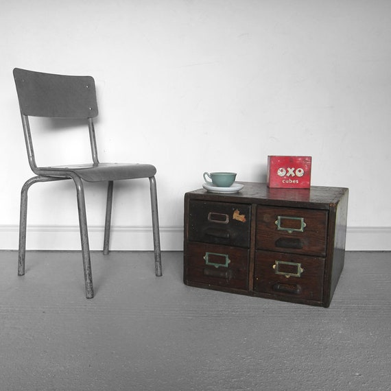 Vintage Storage Drawers coffee Table 1940s Oak Index Filing Drawers