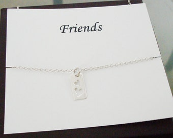 Cut Out Double Heart Tag Sterling Silver Necklace ~Personalized Jewelry Gift Card for Friend, Step Sister, Cousin, Bridal Party, Graduation