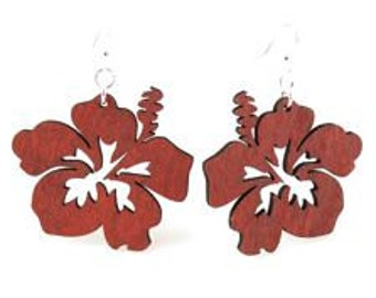 Hibiscus - Wood Earrings