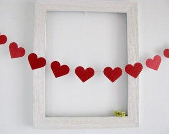 Valentine's garland, (5F / 10F) Heart garland, Wedding garland, Glitter heart garland, Red Garland, Red Heart Garland,Photo Prop drop, Red