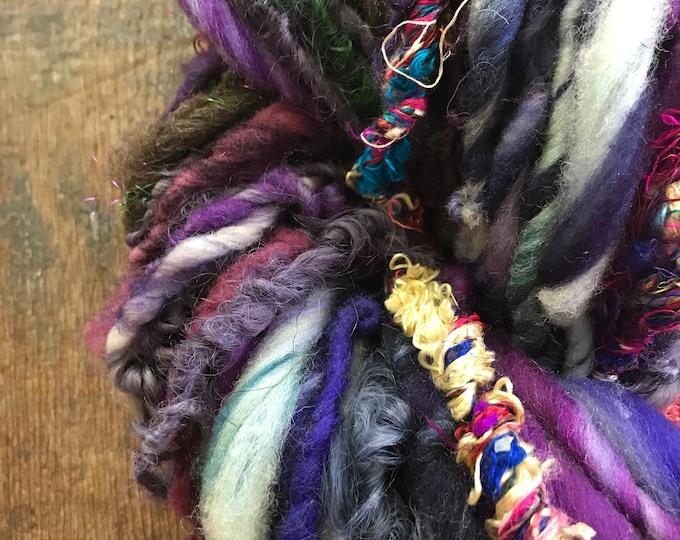 Hey Jude -  wild art yarn, 68 yards, multicolored textured art yarn, handspun, bulky wild yarn, weaving yarn