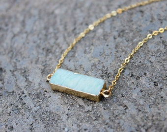 Amazonite Stone Bar Necklace // Pale Blue Green Minimal Necklace // Gemstone Layering Necklace // Geometric Necklace // Stone Bar Necklace